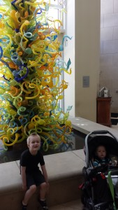 Forest and Rowan at the Oklahoma City Art Museum next to the Chihuly glass tower