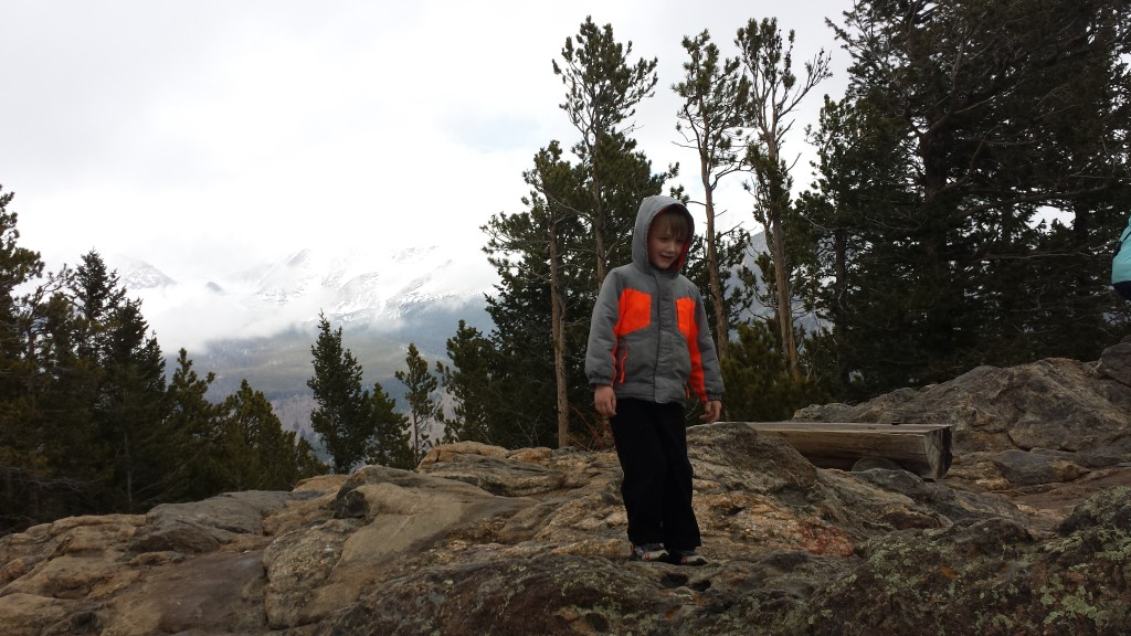 Forest had fun climbing on rocks at Rocky Mountain National Park